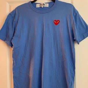 Comme des garcons heart patch shirt blue